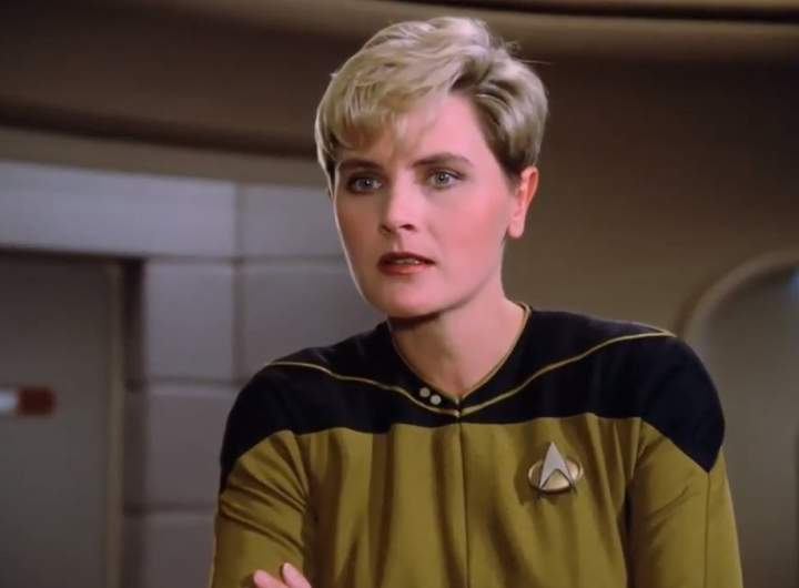 Tasha Yar on the bridge of the Enterprise