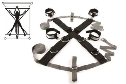 Black and grey bed bondage kit