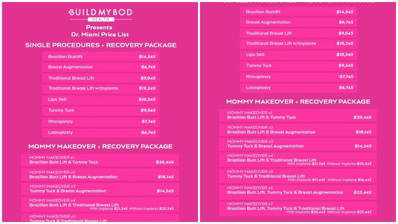 Dr Miami Price List