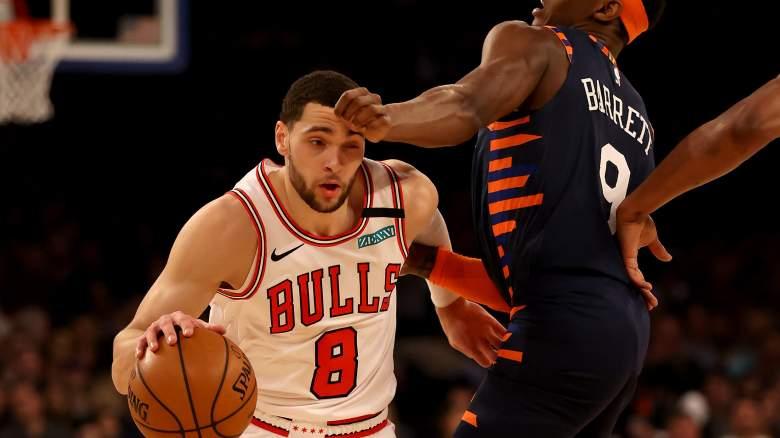 Zach LaVine of the Bulls (left), and R.J. Barrett of the Knicks