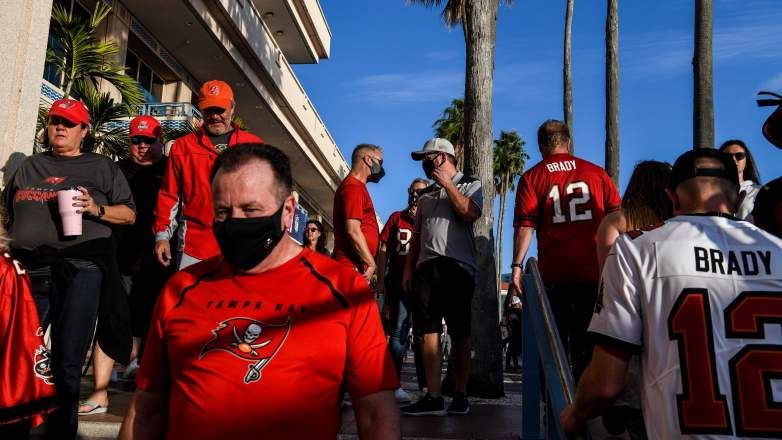 Football fans at the Tampa Bay Harbour