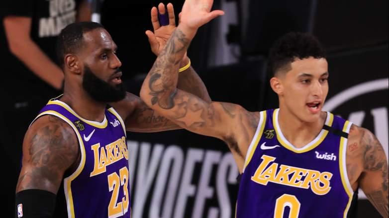 LeBron James, Lakers, at left, with Kyle Kuzma