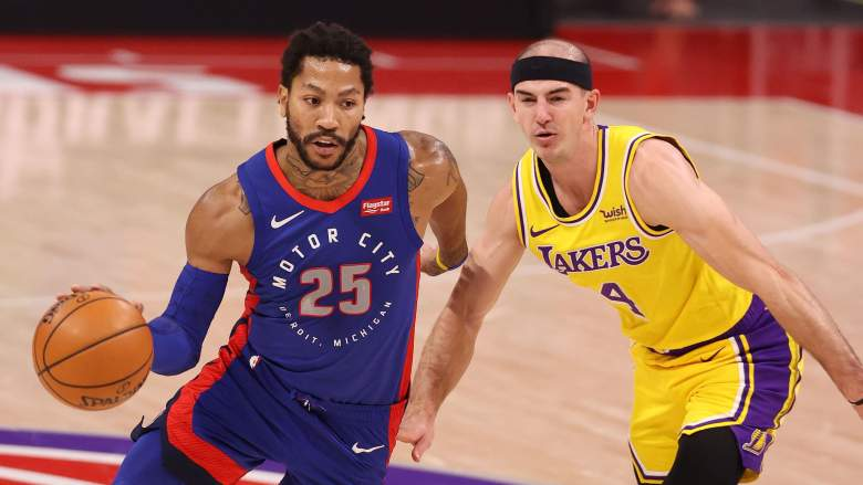The Lakers once offered the Pistons Alex Caruso, right, for guard Derrick Rose, left.
