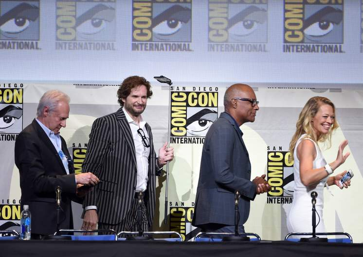 """Actor Brent Spiner, writer/producer Bryan Fuller, actors Michael Dorn and Jeri Ryan attend the """"Star Trek"""" panel during Comic-Con International 2016 at San Diego Convention Center on July 23, 2016 in San Diego, California."""