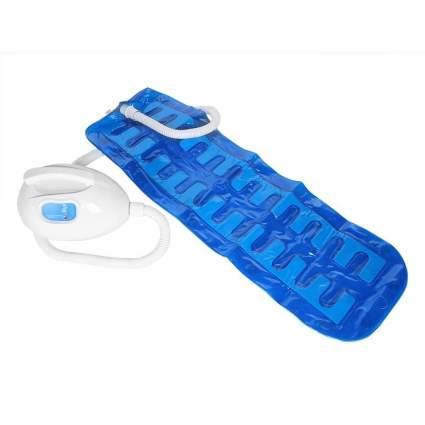 Blue bathtub mat with pump for bubbles