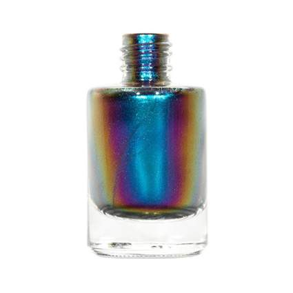Metallic blue duochrome nail polish bottle