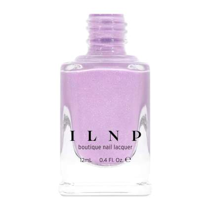 Pinky lavender nail polish with glitter