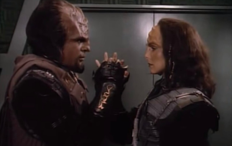 Michael Dorn as Worf and Suzie Plakson as K'Ehleyr in Star Trek The Next Generation