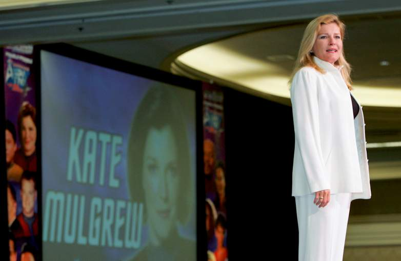 """Kate Mulgrew, who played the character Capt. Kathryn Janeway on the television series """"Star Trek: Voyager,"""" speaks at the Star Trek convention at the Las Vegas Hilton August 12, 2005 in Las Vegas, Nevada."""