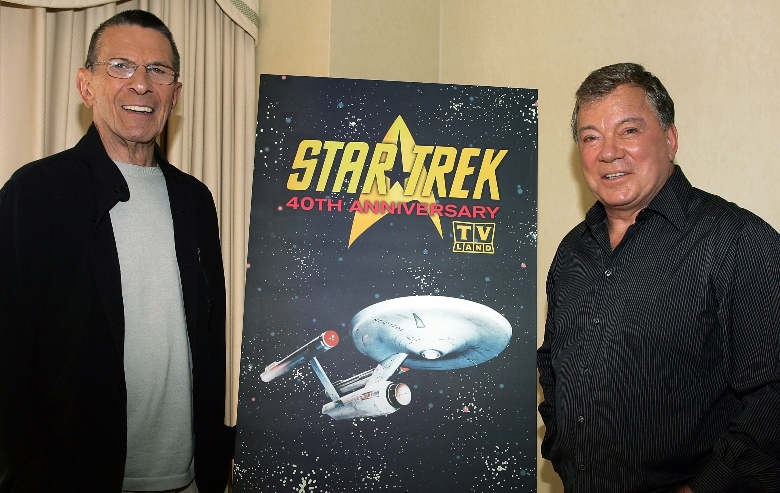 """Leonard Nimoy (L) and William Shatner (R) promote the """"Star Trek"""" 40th Anniversary on the TV Land network at the Four Seasons hotel August 9, 2006 in Los Angeles, California."""