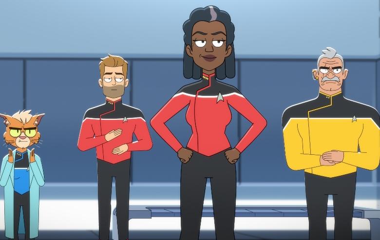 Gillian Vigman as Dr. T'ana, Jerry O'Connell as Commander Ransom, Dawnn Lewis as Captain Freeman and Fred Tatasciore as Lieutenant Shaxs of the CBS All Access series STAR TREK: LOWER DECKS