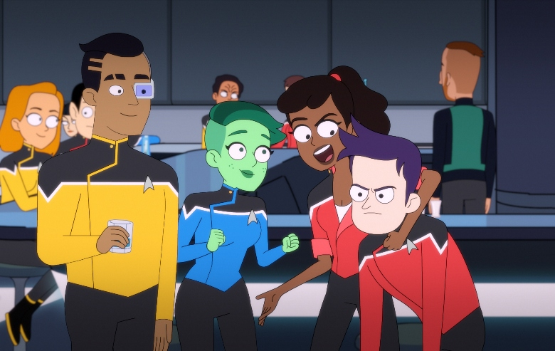 Eugene Cordero as Ensign Rutherford, Noel Wells as Ensign Tendi , Tawny Newsome as Ensign Mariner and Jack Quaid as Ensign Boimler of the CBS All Access series STAR TREK: LOWER DECKS