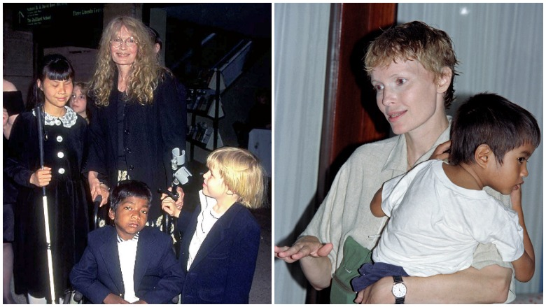 Mia Farrow and her kids