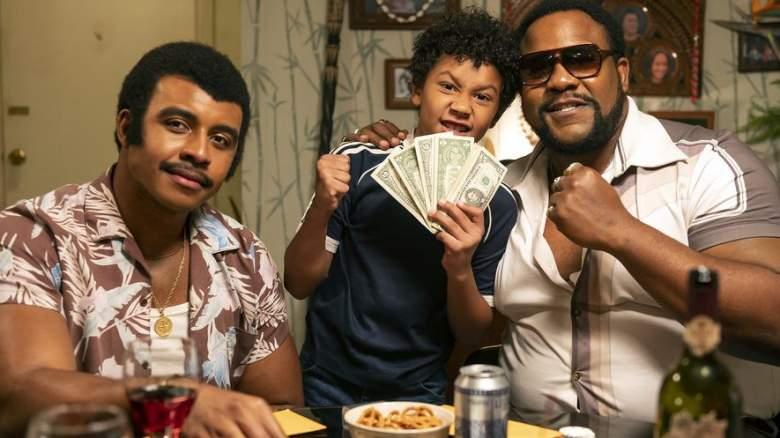 Pictured: (l-r) Joseph Lee Anderson as Rocky Johnson, Adrian Groulx as Dwayne, Nate Jackson as Junkyard Dog