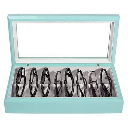 Light blue eyeglasses case