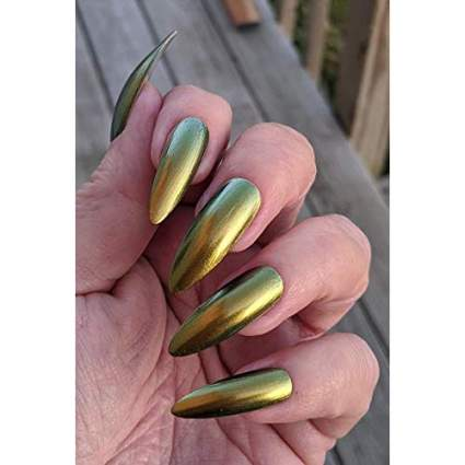Gold metallic duo chrome nail polish