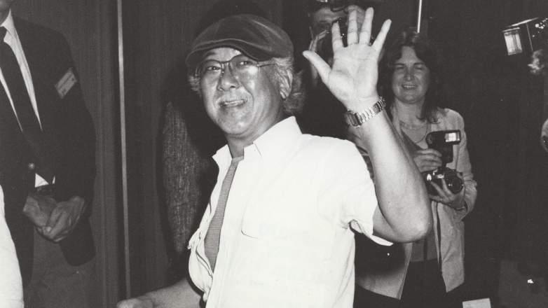 Black and white photo of Pat Morita