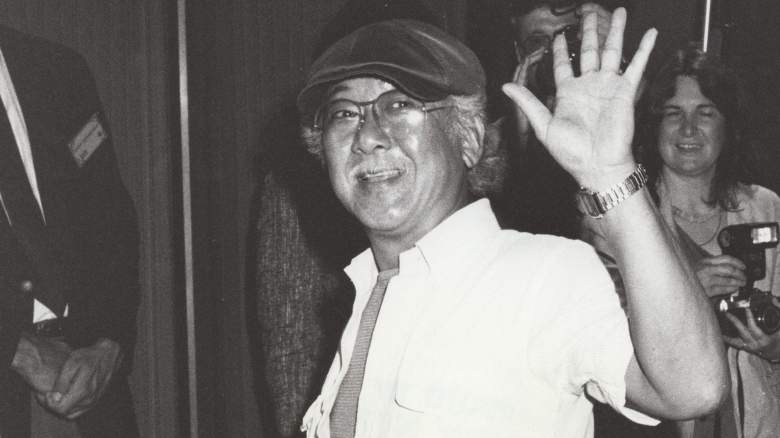 Black and white photo of Pat Morita