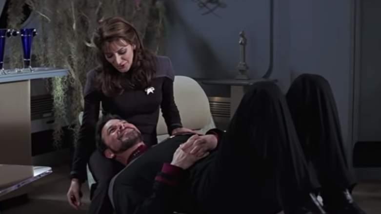 "Marina Sirtis as Deanna Troi and Jonathan Frakes as William Riker in ""Star Trek Insurrection"""