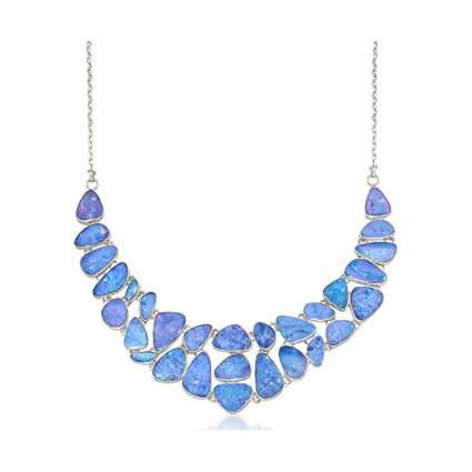Blue opal bib necklace