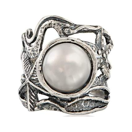 Ocean themed silver ring with a pearl