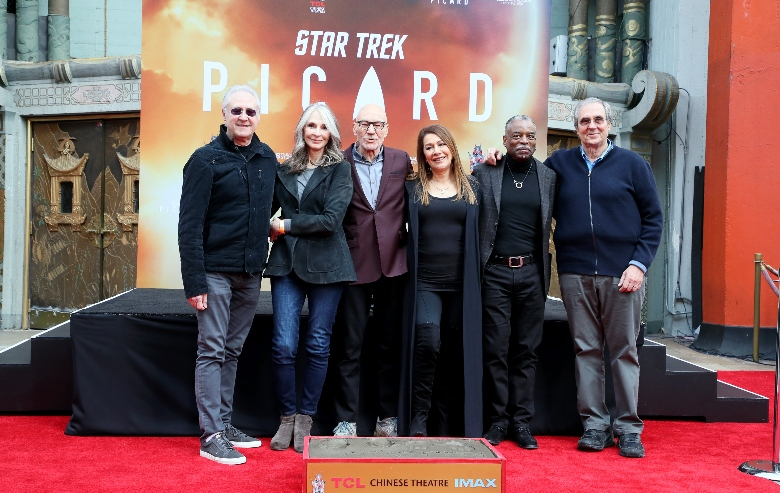 Brent Spiner, Gates McFadden, Sir Patrick Stewart, Marina Sirtis, LeVar Burton and Rick Berman attend Sir Patrick Stewart placing his handprints and footprints In cement at TCL Chinese Theatre IMAX on January 13, 2020 in Hollywood, California.