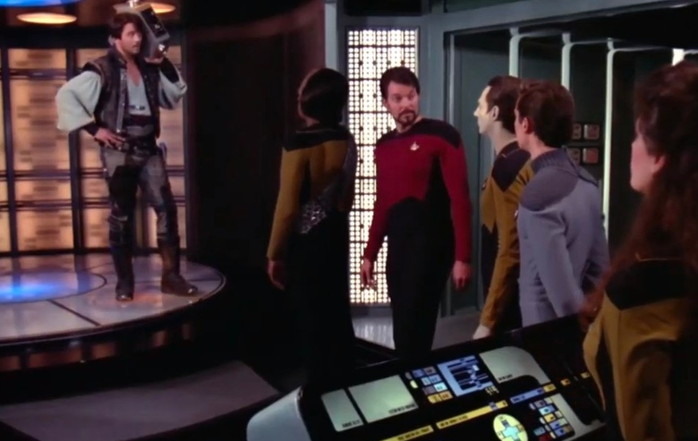 """A scene from the Star Trek: The Next Generation episode """"The Outrageous Okona"""""""