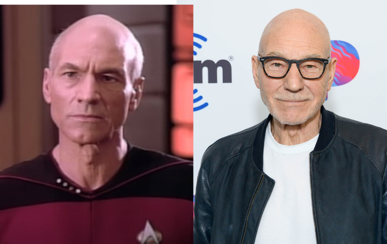 Patrick Stewart as Captain Jean-Luc Picard in Star Trek The Next Generation and Patrick Stewart on the red carpet