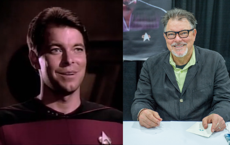 Jonathan Frakes as Commander William Riker on Star Trek The Next Generation and Jonathan Frakes at a signing event