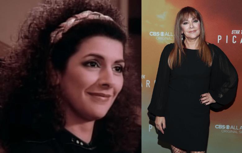 Marina Sirtis as Deanna Troi on Star Trek THe Next Generation and Marina Sirtis at the Picard premiere