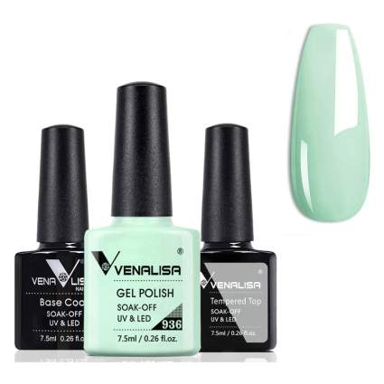creamy mint gel nail polish with top and base coat bottles