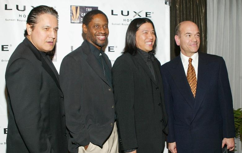 Robert Beltran, Tim Russ, Garrett Wang and Robert Picardo arrive at the Creative Coalition Spotlight Awards at the Luxe Hotel Sunset Boulevard on December 7, 2004 in Los Angeles, California.