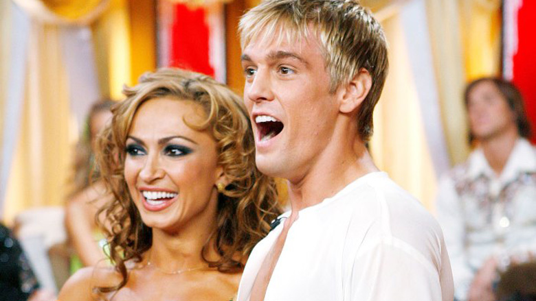 Aaron Carter and his partner Karina Smirnoff on Dancing With the Stars