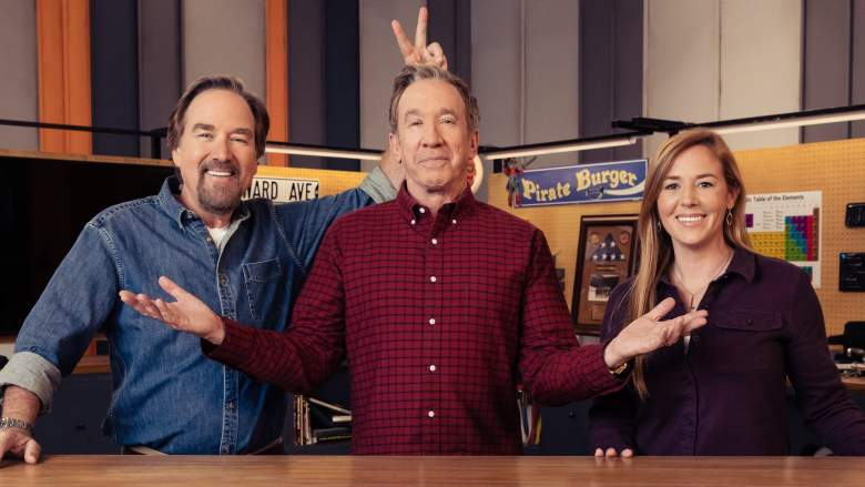 Richard Karn, Tim Allen and April Wilkerson on the set of 'Assembly Required'