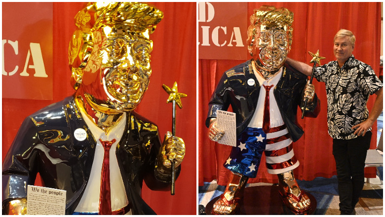 PHOTOS: Golden Trump Statue at CPAC 2021 Draws Fans, Criticism | Heavy.com