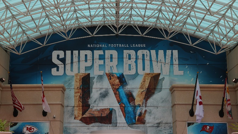 A sign that reads Super Bowl LV.
