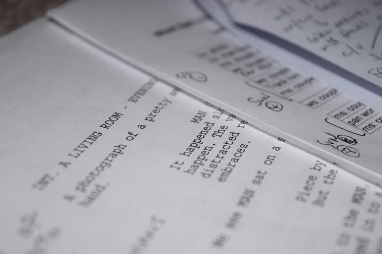 Close up shot of a screenplay