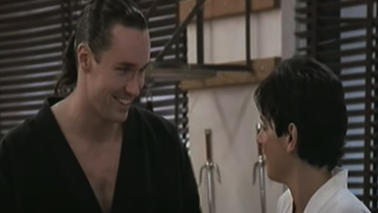 Terry SIlver (Thomas Ian Griffith) and Daniel (Ralph Macchio) in 'The Karate Kid Part III'
