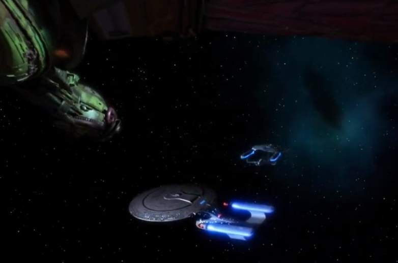 Battle scene from the Star Trek the Next Generation episode Yesterday's Enterprise