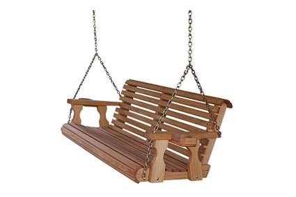 Amish Heavy Duty 800-Pound Roll Back 5-Foot Treated Porch Swing with Cupholders