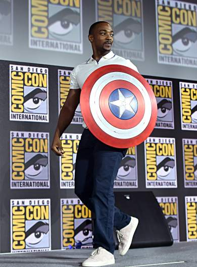 Anthony Mackie With Captain America's Shield