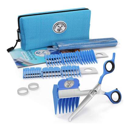 Blue zippered case with haircutting tools for kids