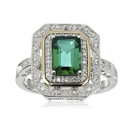 created emerald and diamond art deco ring