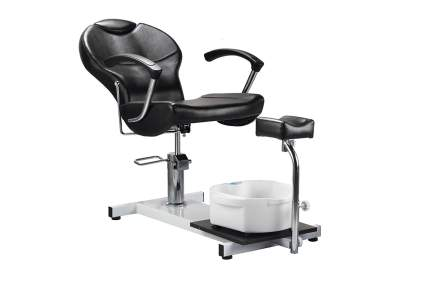 Black minimalist pedicure chair set up with spa