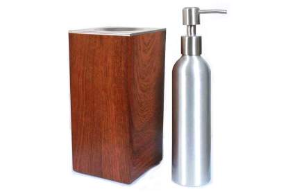 Wooden lotion warmer with metal pump bottle