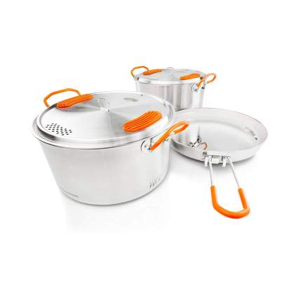 GSI Outdoors Stainless Base Camper 3 Piece Cookset
