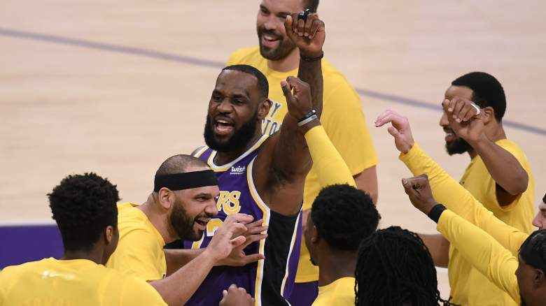 Will LeBron James (center) and the Lakers celebrate again this year?