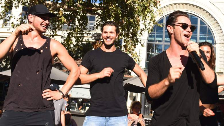 Dancers Alan Bersten, Gleb Savchenko, Artem Chigvintsev and Brittany Cherry attend The Grove Hosts Dancing With The Stars Dance Lab With pros Val Chmerkovskiy, Whitney Carson and Sharna Burgess