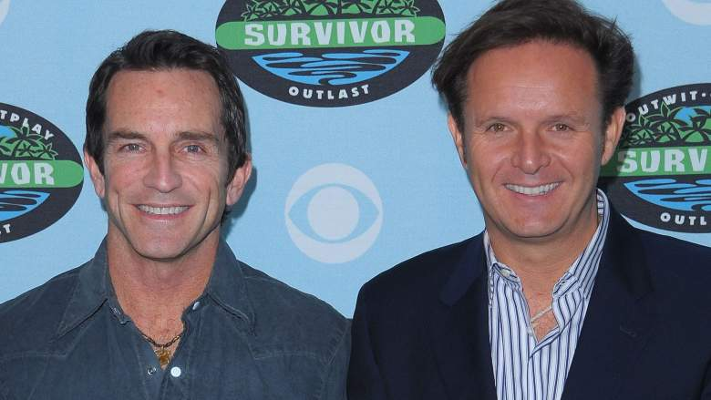 "Jeff Probst and Mark Burnett arrive at the CBS ""Survivor"" 10 Year Anniversary Party"