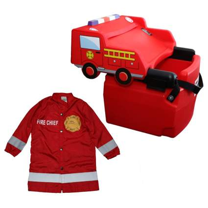 firetruck booster seat with fire fighter coat